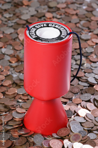 Charity collection with money background
