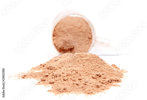 A scoop of chocolate whey isolate protein isolated on white back