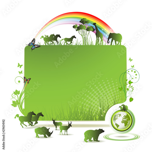 Green earth banner, background with animals