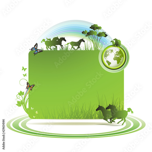 Green earth background with horses and butterflies