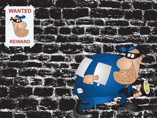 Cartoon wanted burglar against a grunge wall