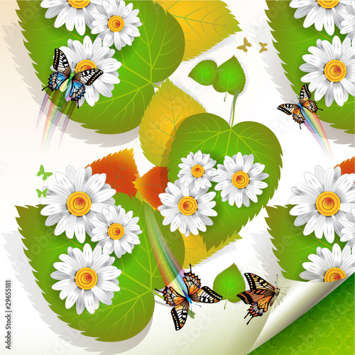 Flowers over leaves and butterflies