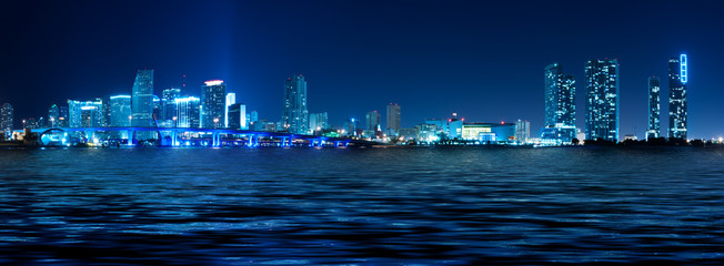 Miami Skyline at night with beautiful reflections