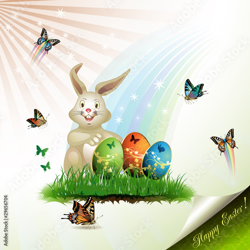 Easter card with bunny, butterflies and decorated eggs