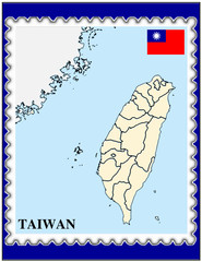 Taiwan national emblem map coat flag business background