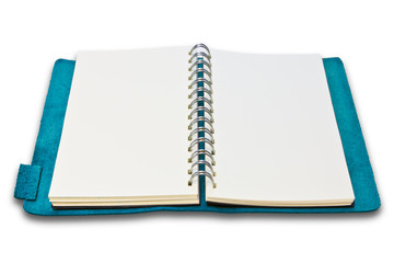 blue leather case notebook isolated