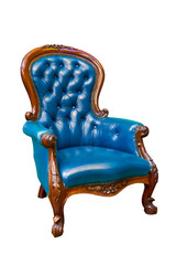 luxury blue leather armchair