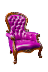 luxury purple leather armchair
