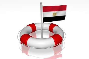 White life buoy with flag of Egypt