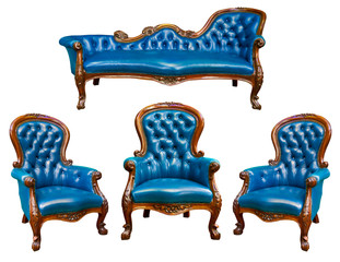 set of luxury blue leather armchair