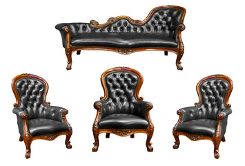 set of luxury black leather armchair isolated