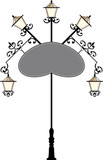 Wrought Iron Signage with Lamp poster