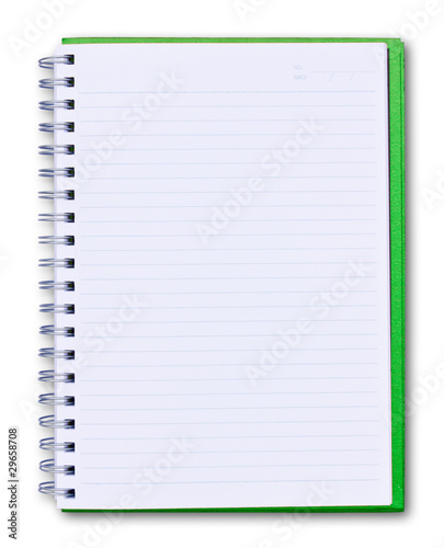 green notebook isolated