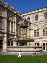 The fountain in front of Vienna Opera House