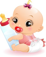 Neonato Bebè con Biberon-Baby with Baby Bottle-2-Vector