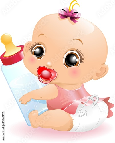 Neonato Bebè con Biberon-Baby with Baby Bottle-2-Vector