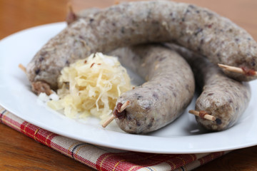 Raw traditional Czech white pudding