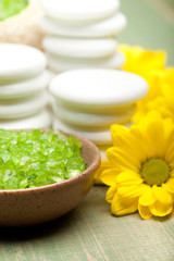 Aromatherapy - lime bath salt and flowers