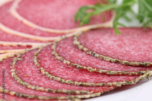 Pepper and parmesan crust salami