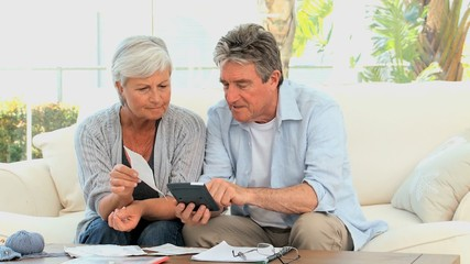 Elderly couple calculating their bills on the sofa