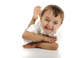 Very cute positive smiling little boy, isolated. poster