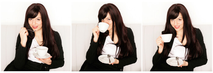 Business Frau mit Kaffee - Collage