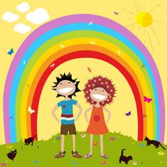 Rainbow and kids