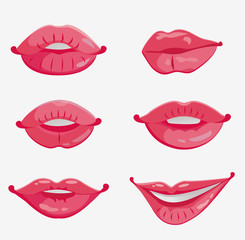 set of six pink female lips
