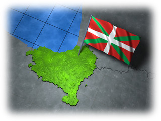 Basque country with its own flag on a white edge