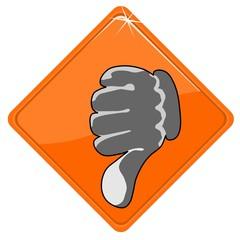 Thumb down on orange sign