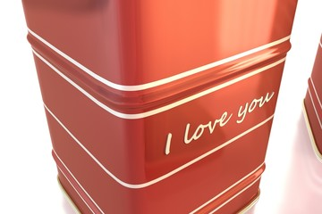 closeup on red tea valentin box