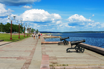 Cannons on the embankment of Lake Onega in Petrozavodsk, Russia