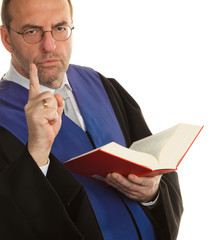 Judges at the Court with the law book. Judgement.