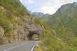 Road tunnel in  green Tara Canyon, Montenegro