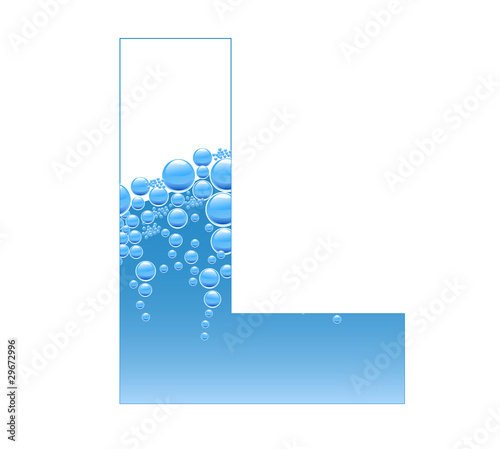 Bubbles and Water Isolated Alphabet Letter L
