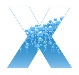 Bubbles and Water Isolated Alphabet Letter X