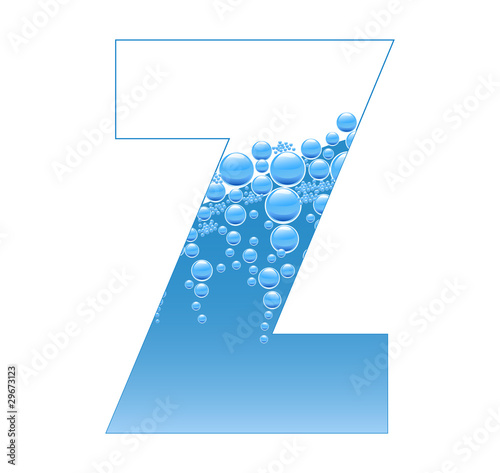 Bubbles and Water Isolated Alphabet Letter Z