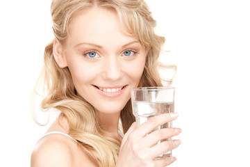 beautiful woman with glass of water