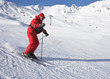 The man is skiing at a ski resort Solden