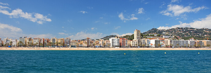 Panoramic view of Lloret de Mar city, Costa Brava, Spain.