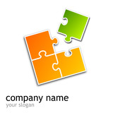 logo puzzle (square orange & green)