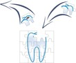 dental care of tooth piece with caries in puzzle concept