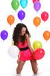 ragazza con palloncini alla festa