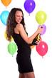 Ragazza con palloncini alla festa che si diverte
