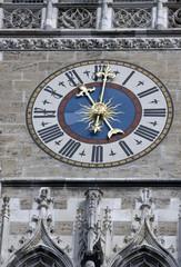 The clock of the city hall at Marienplatz in Munich
