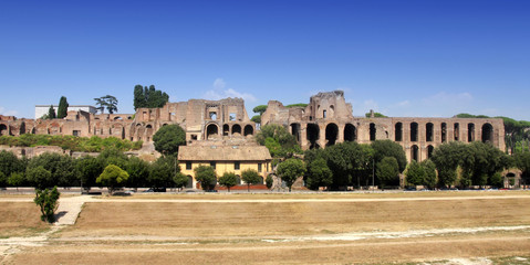 Ruins of Palatine hill palace in Rome, Italy