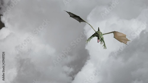 Dragon flying among the clouds