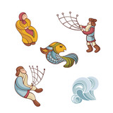 set of fairytale characters poster