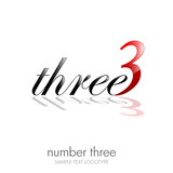 Logo three, number and letter # vector