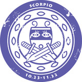 Grunge rubber stamp - sign of the zodiac Scorpio poster